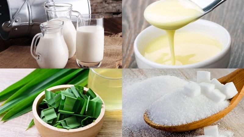 Nguyên liệu món ăn 2 cách làm rau câu lá dứa sữa tươi và sữa đậu nành