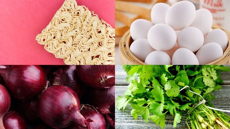 Nguyên liệu món ăn trứng chiên mì tôm (mì gói)