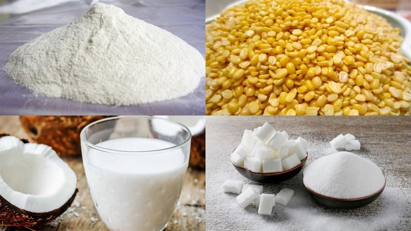 Nguyên liệu món ăn 2 cách làm rau câu đậu xanh lá dứa và nước cốt dừa