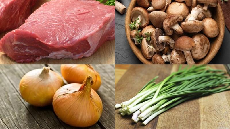 Nguyên liệu món ăn thịt băm xào nấm hương, thịt băm xào nấm mèo