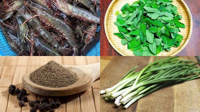 Nguyên liệu món ăn canh rau ngót với tôm