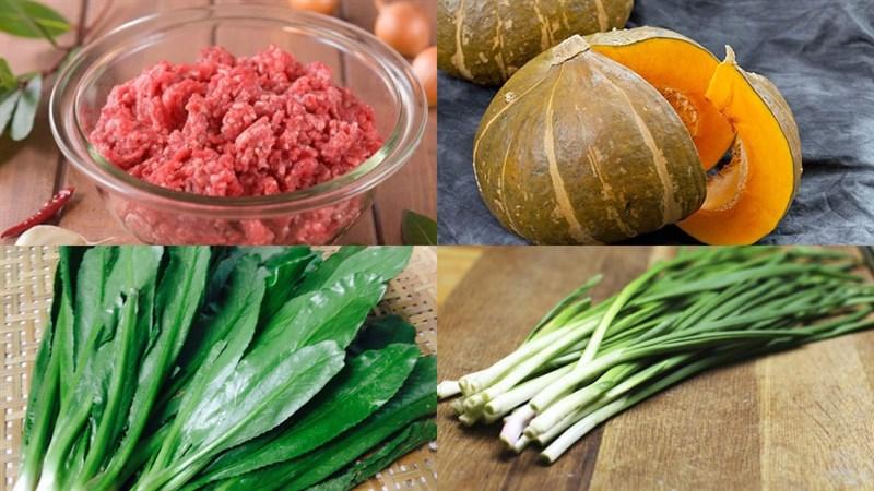 Nguyên liệu món ăn canh bí đỏ thịt bằm và rong biển
