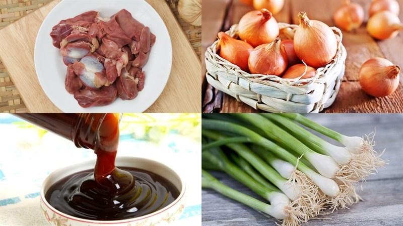Nguyên liệu món ăn lòng gà xào hành tây