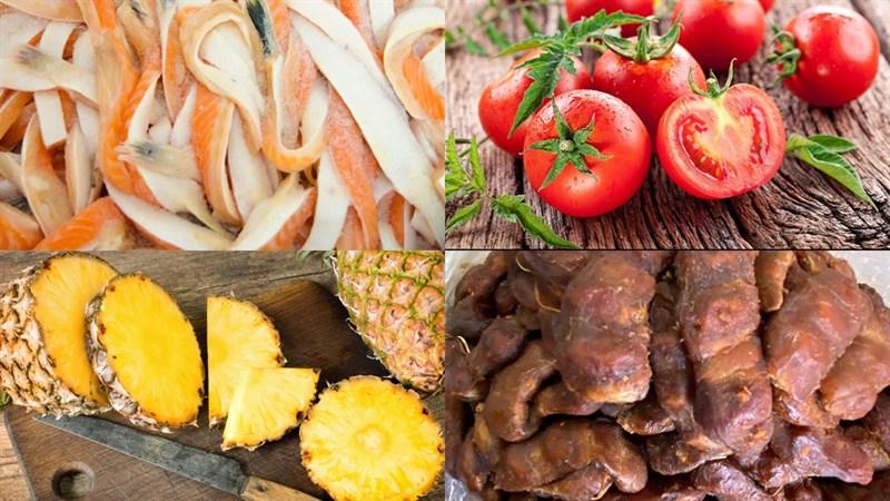 Nguyên liệu món ăn canh chua lườn cá hồi