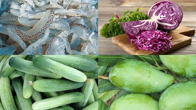 Nguyên liệu món ăn nộm sứa xoài xanh