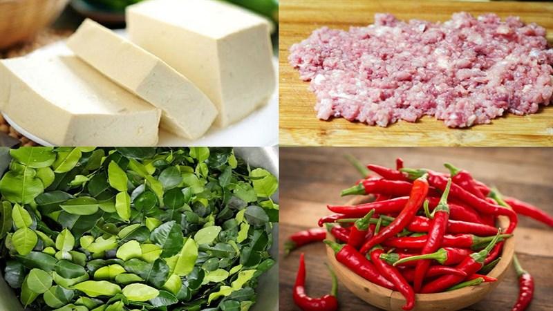 Nguyên liệu món ăn đậu hũ sốt thịt bằm, đậu hũ sốt thịt bằm kiểu thái