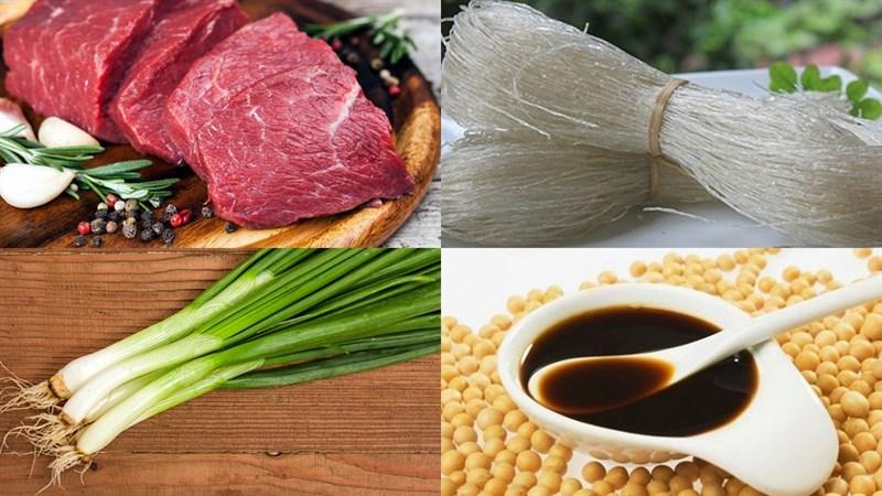 Nguyên liệu món ăn miến xào thịt bò