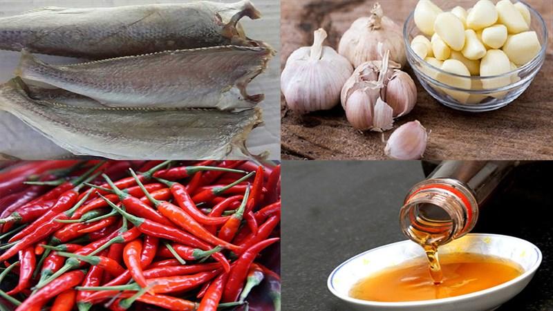 Nguyên liệu món ăn cá khô rim tỏi ớt