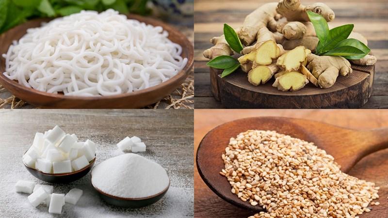 Nguyên liệu món ăn bánh cốm gạo từ bún giòn