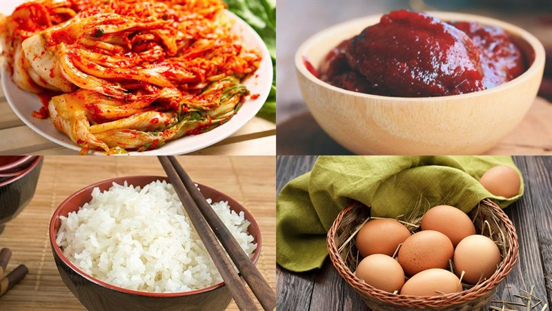 Nguyên liệu món ăn cơm rang kim chi