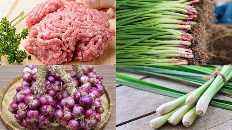 Nguyên liệu món ăn thịt băm rang sả