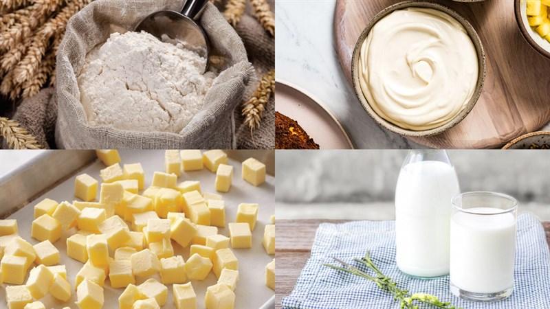 Nguyên liệu món ăn bánh su kem phô mai vỏ giòn