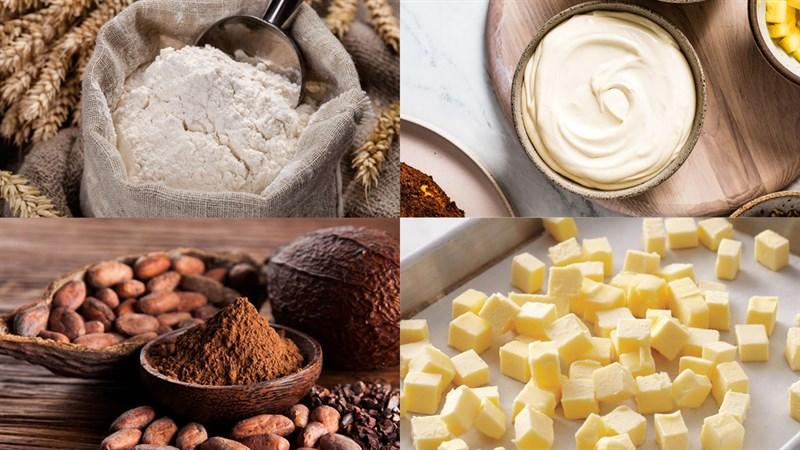 Nguyên liệu món ăn bánh bông lan ngựa vằn phô mai nhật bản