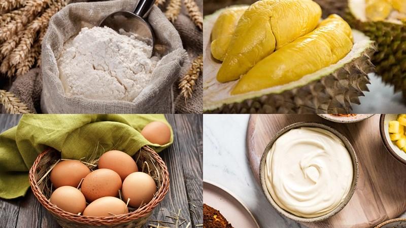 Nguyên liệu món ăn bánh bông lan phô mai sầu riêng