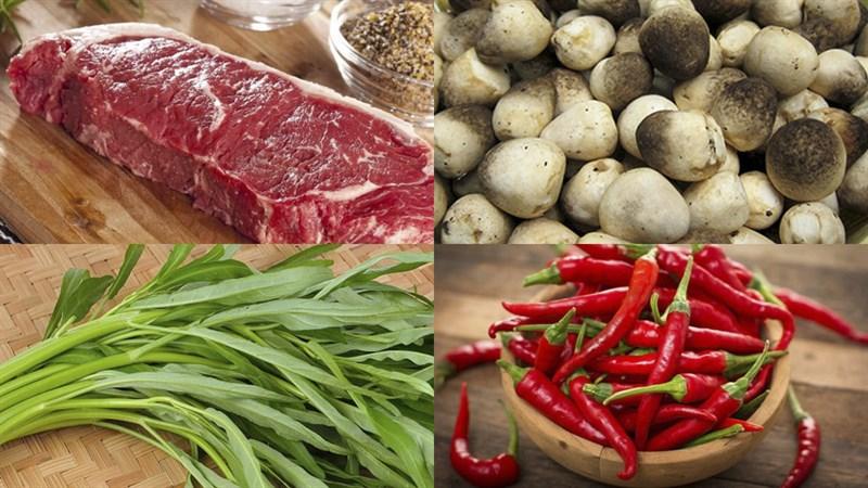 Nguyên liệu món ăn lẩu bò nấm