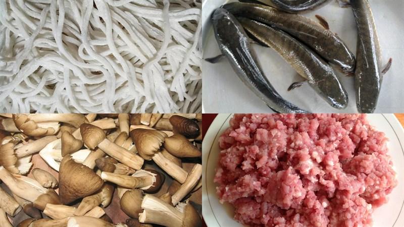 Nguyên liệu món ăn bánh canh cá lóc bột gạo