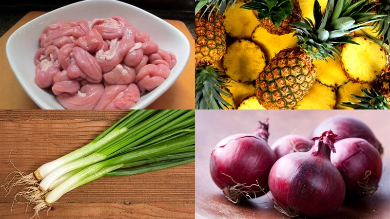Nguyên liệu món ăn lòng heo xào dứa (thơm), lòng heo xào giá