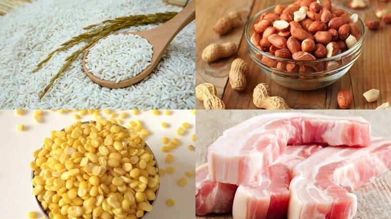 Nguyên liệu món ăn bánh ú trứng muối nhân mặn thập cẩm