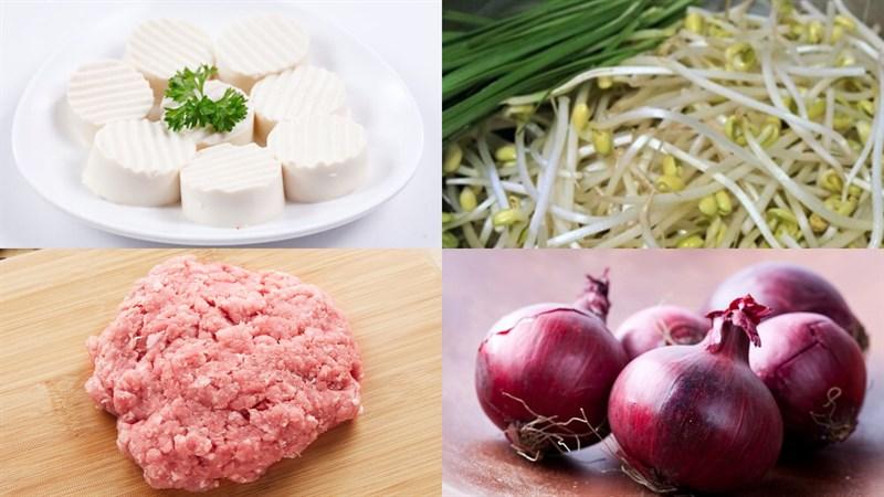 Nguyên liệu món ăn canh đậu hũ non giá hẹ thịt băm