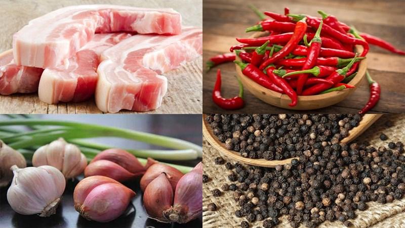 Nguyên liệu món ăn thịt ba chỉ kho tiêu