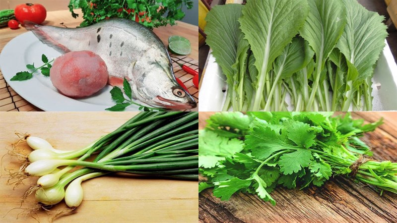 Nguyên liệu món ăn canh cải bẹ xanh cá thác lác