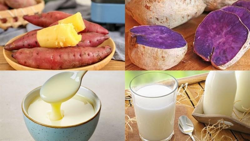 Nguyên liệu món ăn sinh tố khoai lang và sinh tố khoai lang tím
