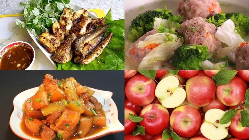 Thực đơn 4: Cá lăng nướng sả nghệ, canh bắp cải thịt viên, thịt kho củ cải, táo tráng miệng