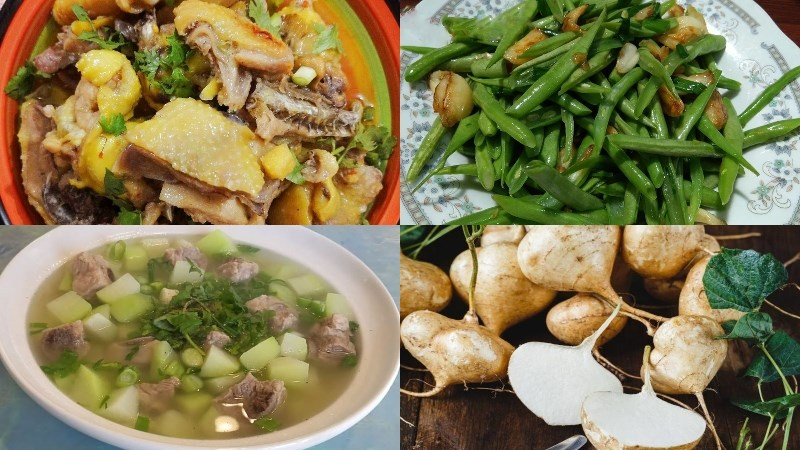 Thực đơn 6: Thịt gà kho gừng, đậu que xào tỏi, canh su su sườn non, củ sắn tráng miệng