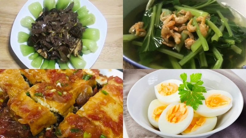 Thực đơn 7: Thịt bò xào nấm hương, trứng luộc, canh cải ngọt tôm khô, đậu hũ dồn thịt sốt cà chua, quýt tráng miệng