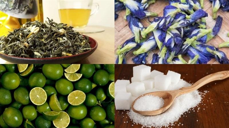 Nguyên liệu món ăn trà chanh hoa đậu biếc