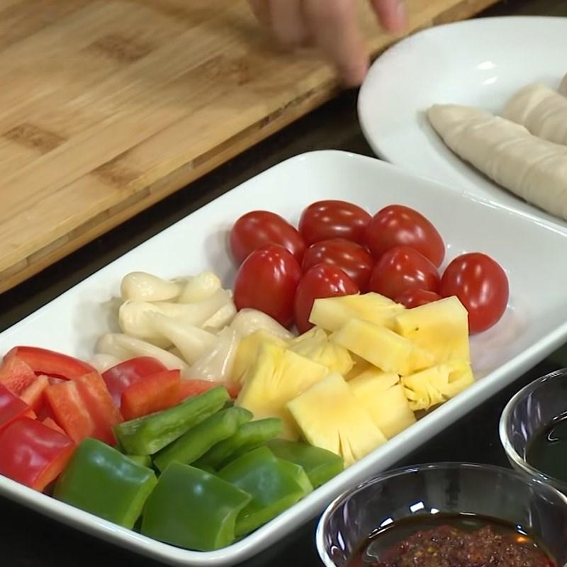 Bước 1 Sơ chế các loại rau củ Mì căn nướng rau củ