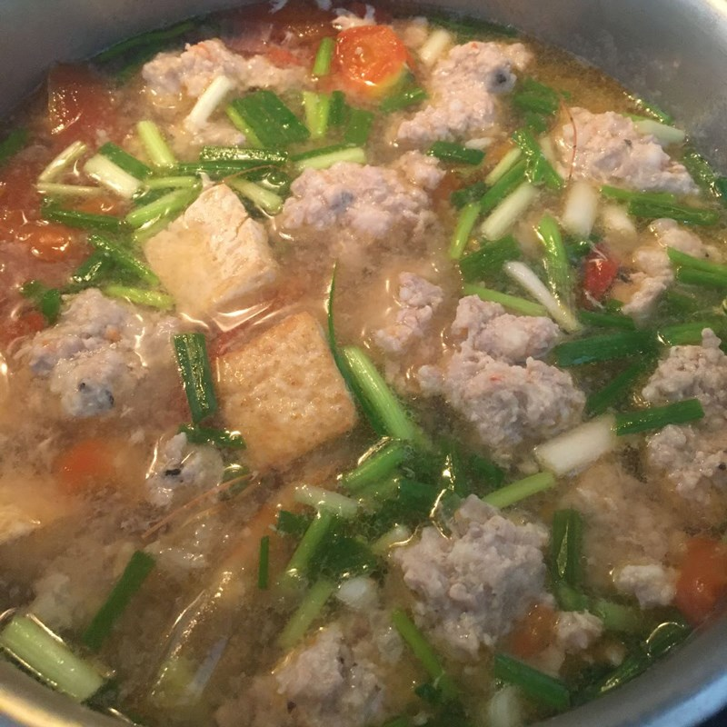 Bước 4 Nấu nước dùng Bún riêu tôm thịt