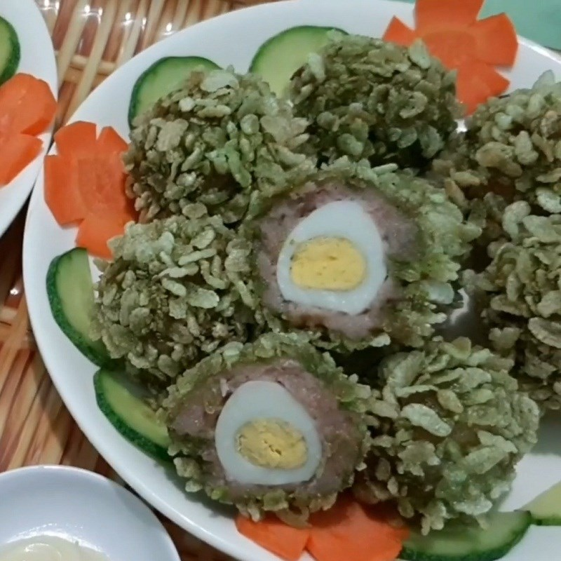 Bước 5 Thành phẩm Trứng cút chiên cốm xanh