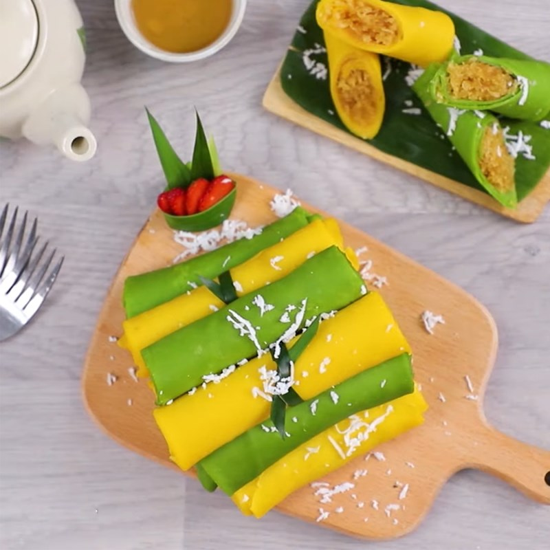 Bước 8 Thành phẩm Bánh Crepe cuộn dừa từ lá dứa và bí đỏ