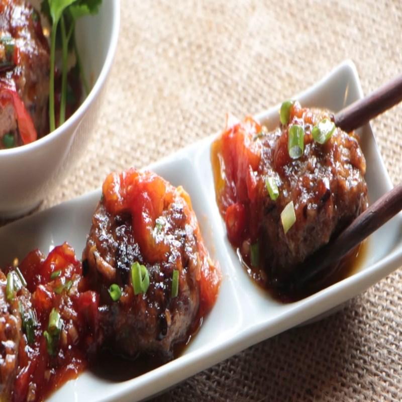 Bước 7 Thành phẩm Bò bằm viên phô mai sốt cà chua