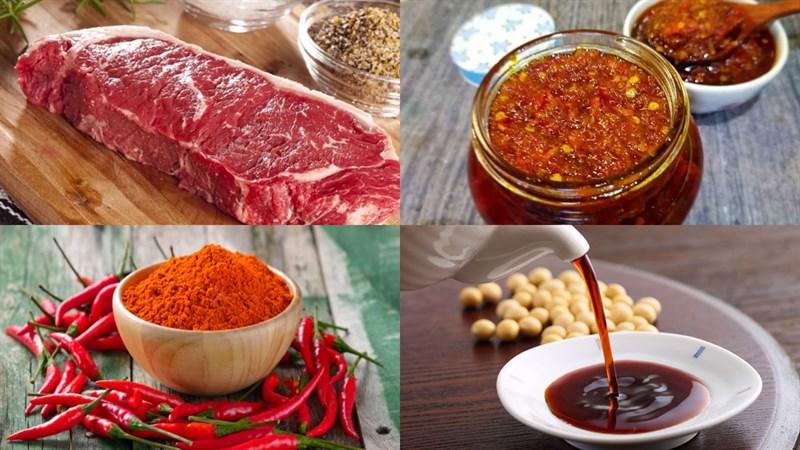 Nguyên liệu món ăn cách làm bò nướng sa tế