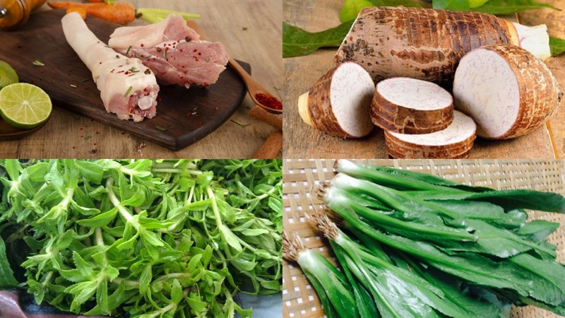 Nguyên liệu món ăn canh đuôi heo hầm khoai môn