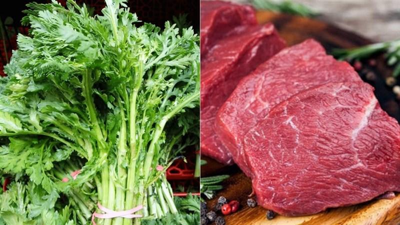 Nguyên liệu món ăn canh cải cúc thịt bò