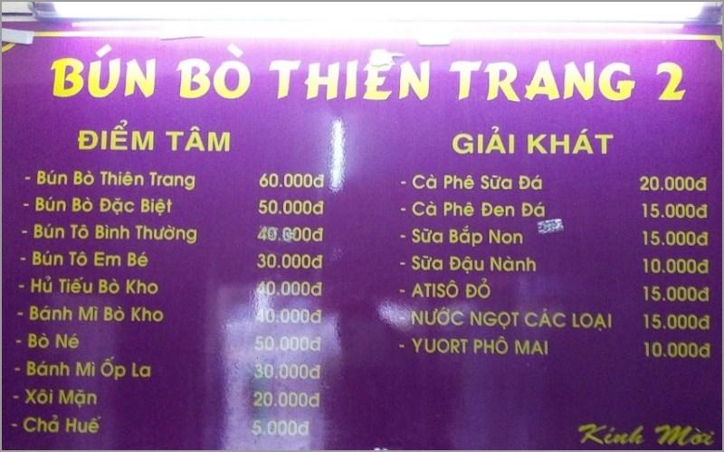 Thực đơn Quán Bún Bò Huế Thiên Trang