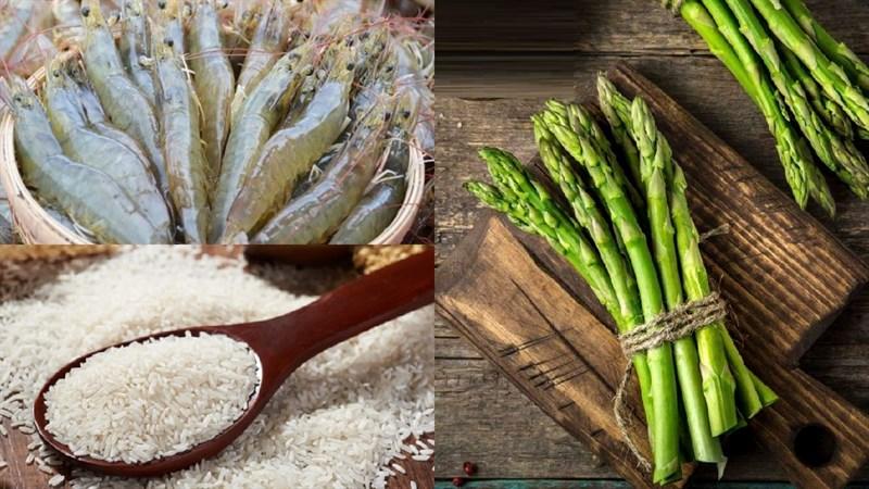 Nguyên liệu món ăn cháo tôm măng tây
