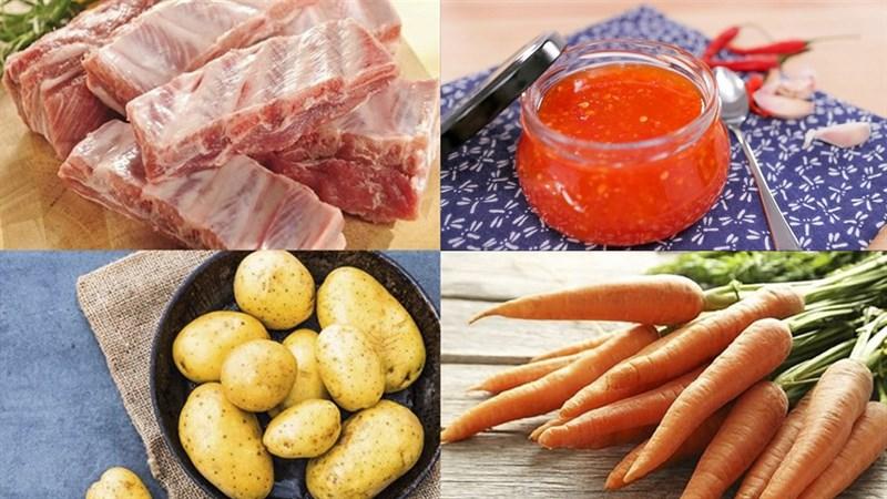 Nguyên liệu món ăn sườn non nấu xí muội