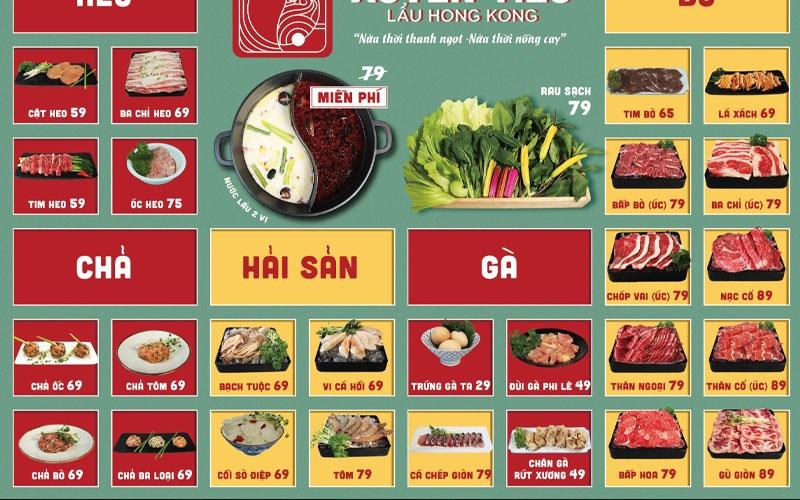 menu quán Quán Xuyên Tiêu- Lẩu Hong Kong