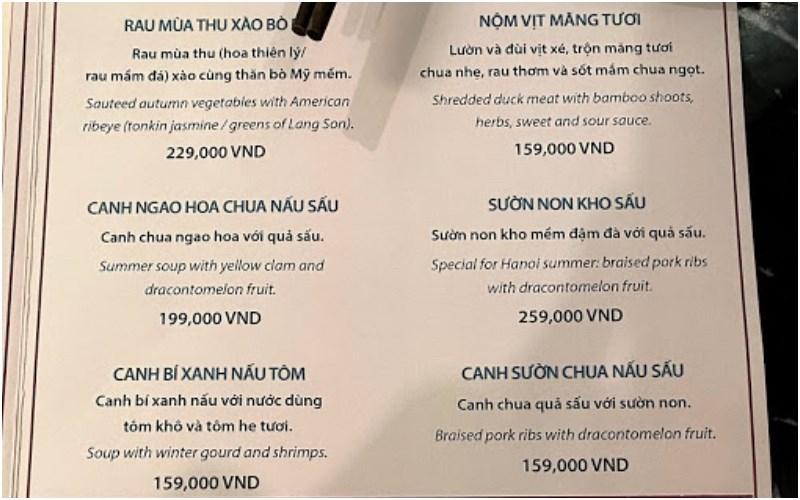 Thực đơn của Nhà hàng Luk Lak Vietnamese Restaurant