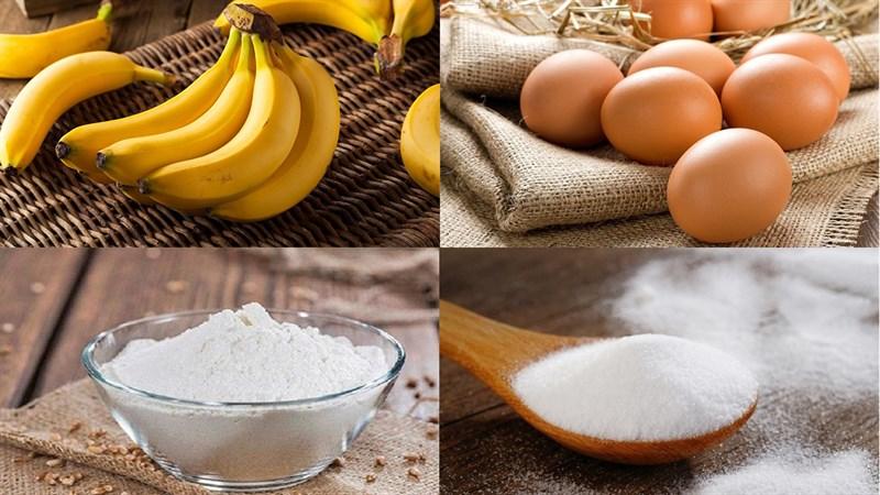 Nguyên liệu món ăn bánh bông lan chuối hấp