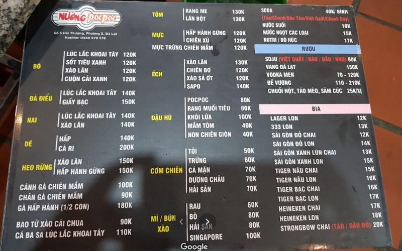 menu Quán Lẩu Nướng Poc Poc