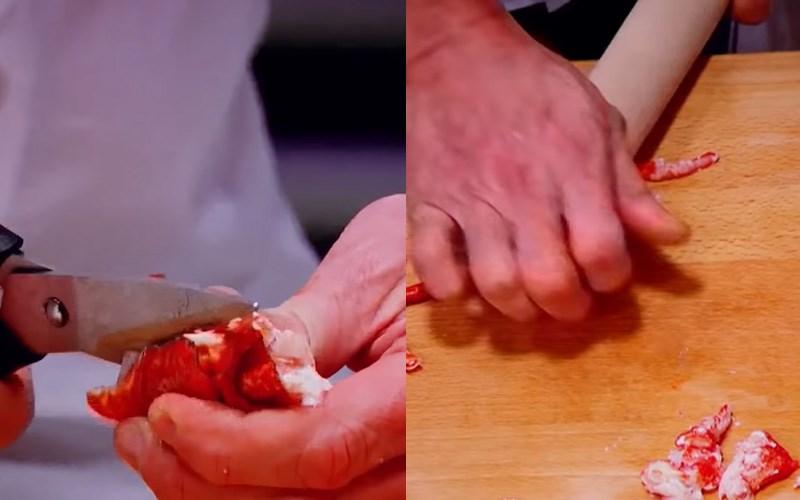Dùng kéo và cây cán bột lấy thịt tôm