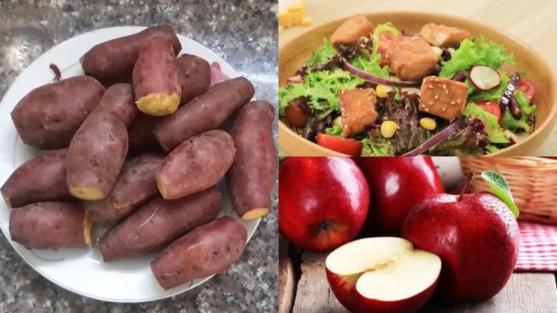 Khoai lang luộc, salad ức gà, táo