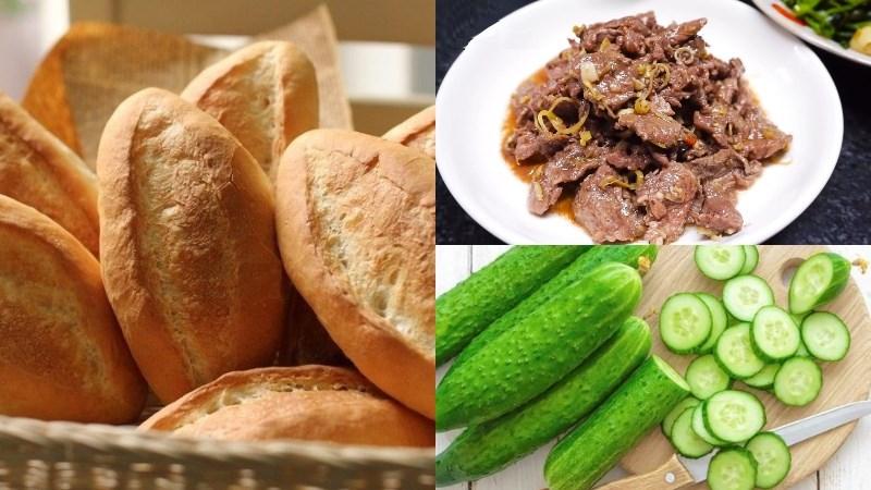 Bánh mì, thịt bò xào sả ớt, dưa leo