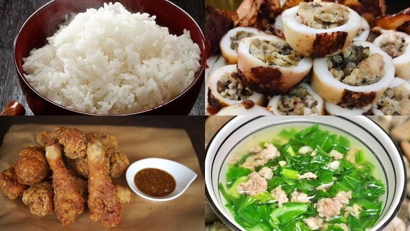 Cơm, mực nhồi thịt, gà rán sả, canh cải thịt băm