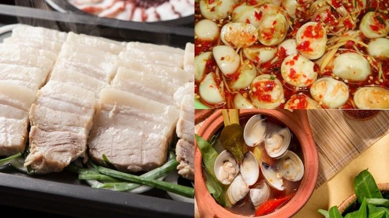 Thịt luộc, cà pháo, canh ngao nấu chua